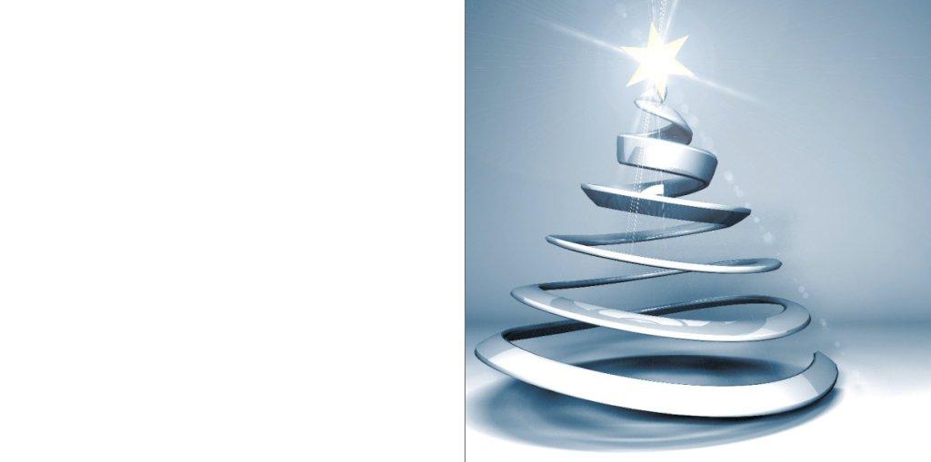 moderne kerstkaart met zilveren kerstboom en ster